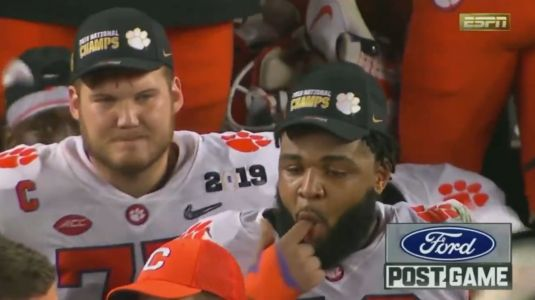 Dabo Swinney got a wet willy from Christian Wilkins during his postgame interview