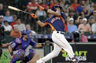 Brantley hits 2 HRs, Astros top Rangers 5-3 for 5th straight