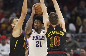 Joel Embiid sprains left shoulder, 76ers fall to Cavaliers