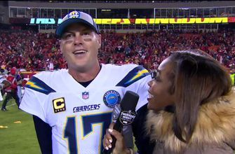 Philip Rivers is pumped up after the Chargers' last-second win over the Chiefs