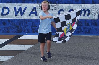 Here's all the celebrating Keelan Harvick got to do with his dad Kevin in Michigan
