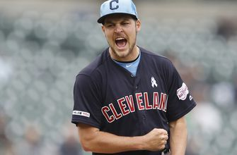 Bauer pitches first complete game shut out, Indians beat Tigers 8-0