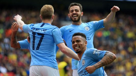 City thump Watford in FA Cup final, complete treble