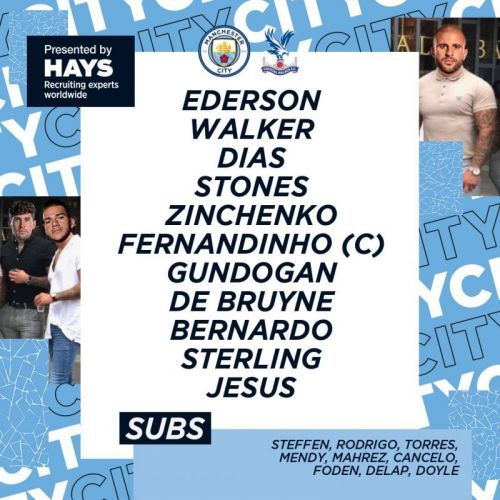 Manchester City double down on use of viral meme today with jibe included in lineup post against Crystal Palace