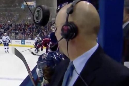 Watch: NHL commentator Pierre McGuire barely avoids puck flying toward face