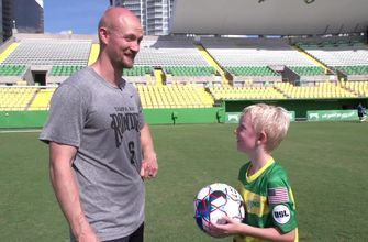 Lightning's Anton Stralman and son test out soccer skills with Tampa Bay Rowdies