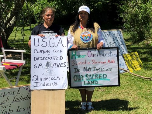 Small group of protesters near U.S. Open seeks to educate public about Shinnecock Nation