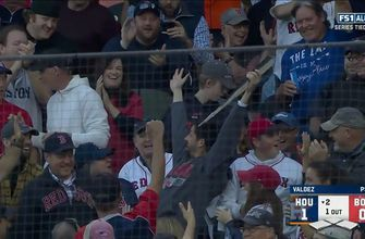 Gimme that! Fan makes incredible snag on Rafael Devers' severed bat