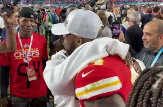 Terrell Suggs celebrates his 2nd championship with family on the field in MIami