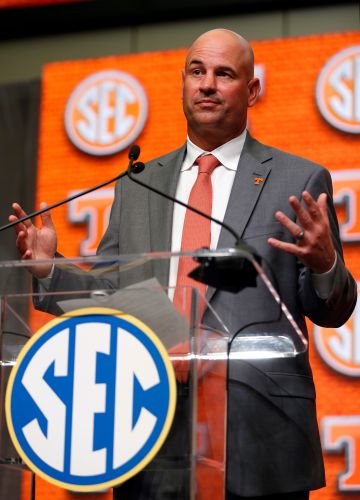 Tennessee coach Jeremy Pruitt talks for 21 minutes uninterrupted at SEC Media Days