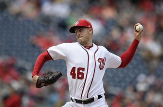 Corbin takes 1-hitter into 8th, Nationals beat Giants 4-2