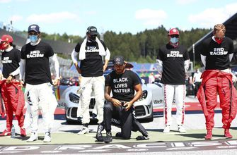 """F1 Drivers all wear """"End Racism"""" T-shirts, but 6 don't kneel"""
