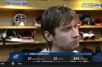 Sergei Bobrovsky happy to see Nick Foligno get the 7th goal in win over the New York Rangers