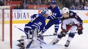 Andersen withstands Columbus' barrage as Leafs win 4th straight