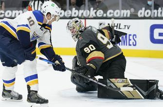 Blues squander late lead but hang on for 5-4 shootout victory over Golden Knights