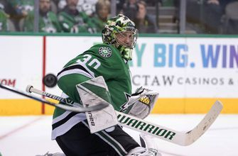 Bishop, Khudobin combine for shutout, Stars beat Flames 2-0