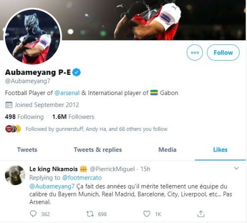 Aubameyang risks wrath of Arsenal fans after liking tweet saying he deserves big transfer