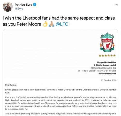 Patrice Evra hits out at Liverpool fans for lacking 'respect and class' after Man United legend suffered racist abuse from Luis Suarez as ace shares Reds CEO's old 'apology' letter