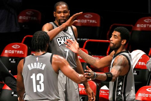 Nets' Kevin Durant, Kyrie Irving and James Harden back together again