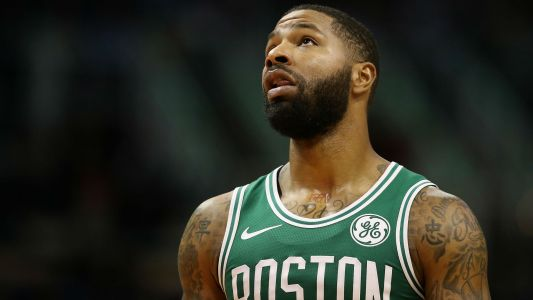 Celtics' Marcus Morris appears to shove Jaylen Brown during timeout in blowout loss to Heat