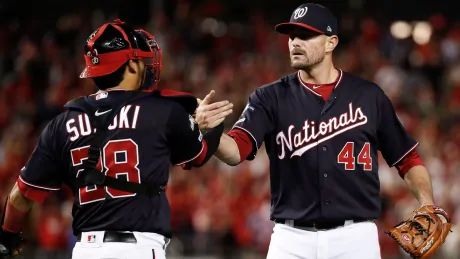 Daniel Hudson rejoins Nats, closes out NLCS win after birth of child