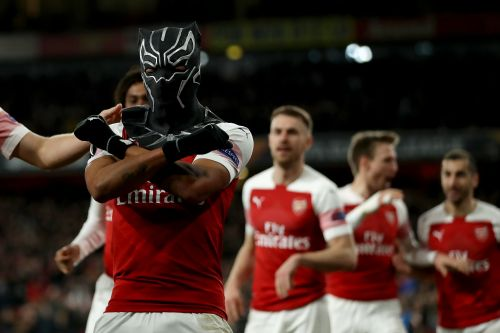 Arsenal's Aubameyang dons Black Panther mask to celebrate Europa League goal