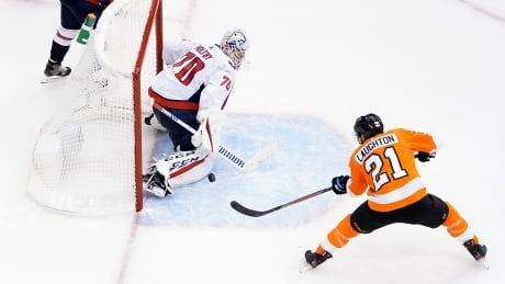 Laughton leads Flyers past Caps, extends Philadelphia to 2-0 in Eastern round-robin