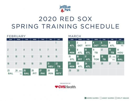 Red Sox Spring Training Schedule: Boston Reveals 2020 Exhibition Slate