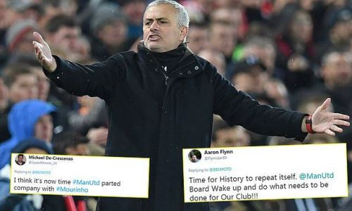 Utd fans call for Jose sacking three years to the day of Chelsea chop