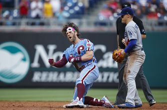 Harper, Hoskins rally Phillies past Dodgers with 4-run 7th
