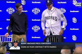 Manny Machado puts the Padres jersey on for first time!