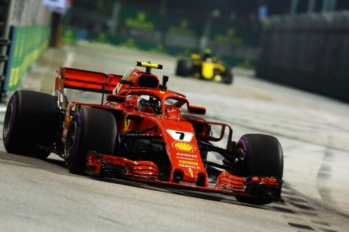 Raikkonen edges Hamilton after Vettel hits wall in Singapore