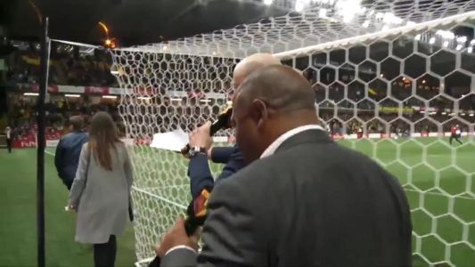 John Barnes entertains Watford fans at half-time with World Cup song