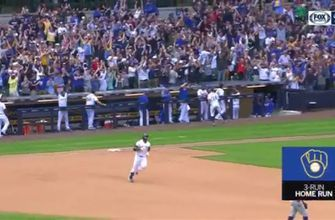 WATCH: Brewers' Thames blasts 3-run home run to tie game against Dodgers